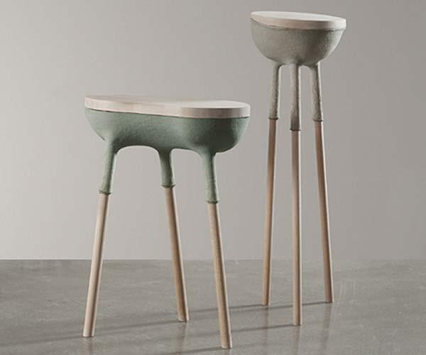 Коллекция мебели, отделанной материалом Zelfo дизайнера Elise Gabriel.
