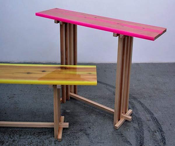 Мебель из флуоресцентной смолы Shrine Flat-table.