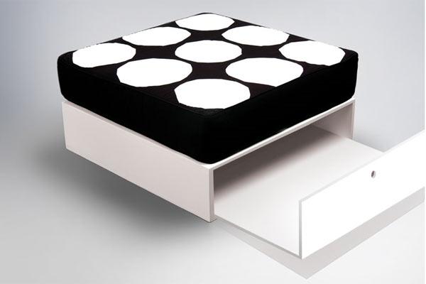 Банкетка с ящиком ducduc — cube box — Walnut — F3 Fabric