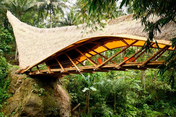 Европейская архитектура зеленой школы из бамбука на Бали