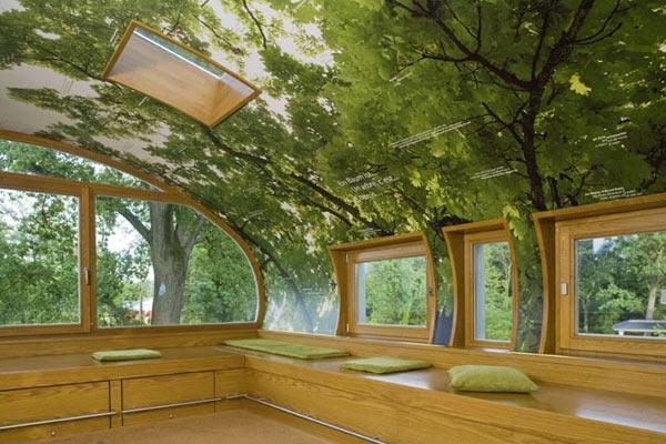 Домик, припаркованный к дереву