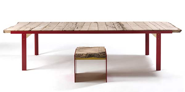 Стол и табурет Touch дизайнера Carlo Colombo.