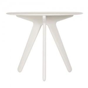 Круглый белый столик Slab.