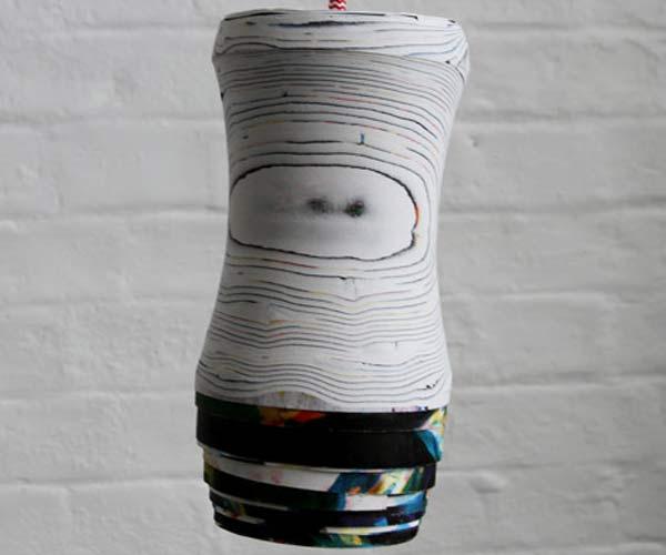 Плафоны и мебель из переработанной бумаги.